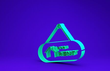 Green Hanging sign with text For Rent icon isolated on blue background. Signboard with text For Rent. Minimalism concept. 3d illustration 3D render