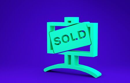 Green Hanging sign with text Sold icon isolated on blue background. Sold sticker. Sold signboard. Minimalism concept. 3d illustration 3D render