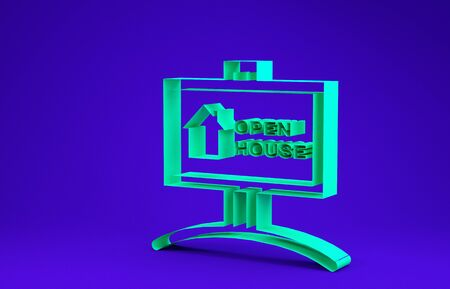 Green Hanging sign with text Open house icon isolated on blue background. Signboard with text Open house. Minimalism concept. 3d illustration 3D render
