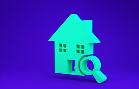Green Search house icon isolated on blue background. Real estate symbol of a house under magnifying glass. Minimalism concept. 3d illustration 3D render