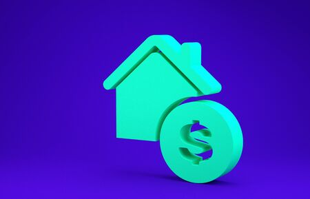 Green House with dollar symbol icon isolated on blue background. Home and money. Real estate concept. Minimalism concept. 3d illustration 3D render 版權商用圖片