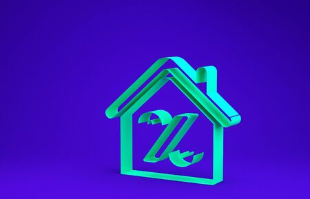 Green House with percant discount tag icon isolated on blue background. House percentage sign price. Real estate home. Credit percentage symbol. Minimalism concept. 3d illustration 3D render