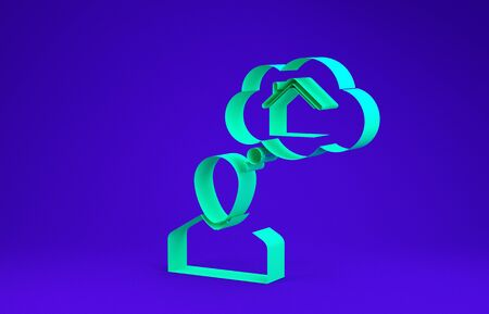 Green Man dreaming about buying a new house icon isolated on blue background. Minimalism concept. 3d illustration 3D render
