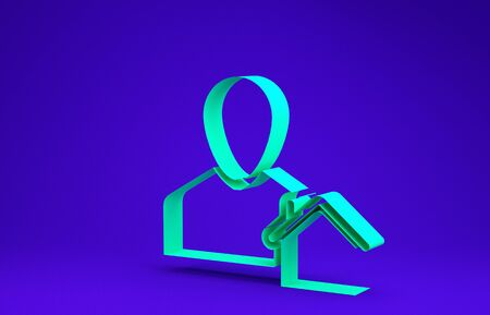 Green Realtor icon isolated on blue background. Buying house. Minimalism concept. 3d illustration 3D render