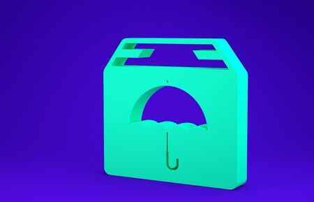Green Delivery package with umbrella symbol icon isolated on blue background. Parcel cardboard box with umbrella sign. Logistic and delivery. Minimalism concept. 3d illustration 3D render Stockfoto