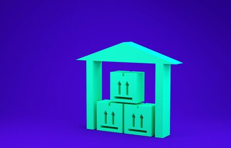 Green Warehouse icon isolated on blue background. Minimalism concept. 3d illustration 3D render