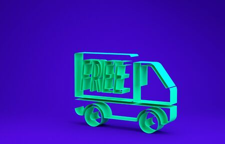 Green Free delivery service icon isolated on blue background. Free shipping. 24 hour and fast delivery. Minimalism concept. 3d illustration 3D render Stock Photo