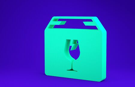 Green Delivery package box with fragile content symbol of broken glass icon isolated on blue background. Box, package, parcel sign. Minimalism concept. 3d illustration 3D render