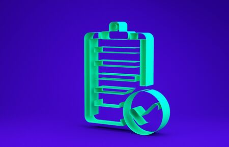 Green Verification of delivery list clipboard and pen icon isolated on blue background. Minimalism concept. 3d illustration 3D render Imagens