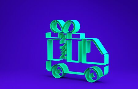 Green Delivery truck with gift icon isolated on blue background. Minimalism concept. 3d illustration 3D render