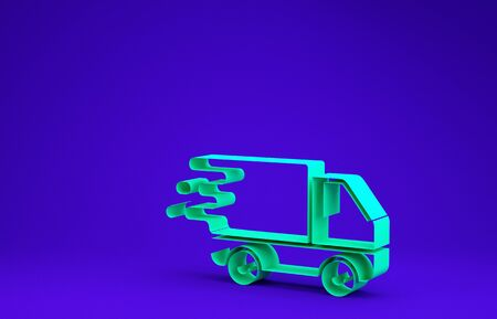 Green Delivery truck in movement icon isolated on blue background. Fast shipping delivery truck. Minimalism concept. 3d illustration 3D render Stock Photo