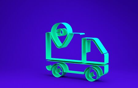 Green Delivery tracking icon isolated on blue background. Parcel tracking. Minimalism concept. 3d illustration 3D render