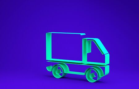 Green Delivery cargo truck vehicle icon isolated on blue background. Minimalism concept. 3d illustration 3D render