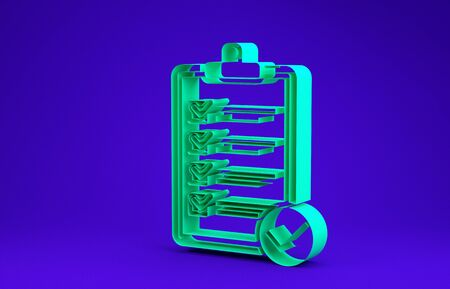 Green Verification of delivery list clipboard and pen icon isolated on blue background. Minimalism concept. 3d illustration 3D render Stock fotó