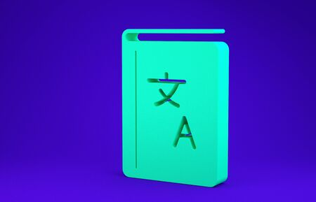 Green Translator book icon isolated on blue background. Foreign language conversation icons in chat speech bubble. Translating concept. Minimalism concept. 3d illustration 3D render