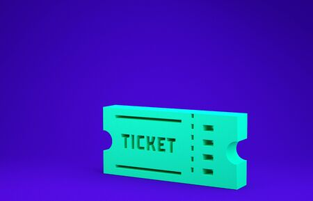 Green Ticket icon isolated on blue background. Minimalism concept. 3d illustration 3D render