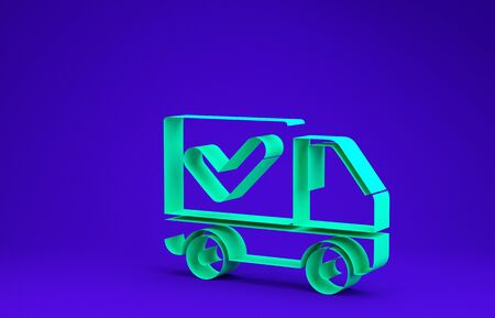 Green Delivery truck with check mark icon isolated on blue background. Minimalism concept. 3d illustration 3D render 版權商用圖片