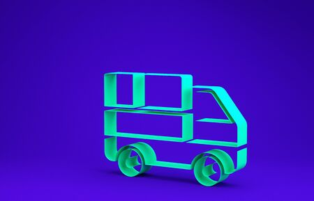 Green Delivery truck with cardboard boxes behind icon isolated on blue background. Minimalism concept. 3d illustration 3D render