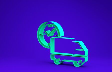 Green Logistics delivery truck and clock icon isolated on blue background. Delivery time icon. Minimalism concept. 3d illustration 3D render