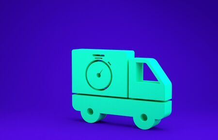 Green Logistics delivery truck and stopwatch icon isolated on blue background. Delivery time icon. Minimalism concept. 3d illustration 3D render 版權商用圖片