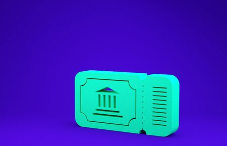 Green Museum ticket icon isolated on blue background. History museum ticket coupon event admit exhibition excursion. Minimalism concept. 3d illustration 3D render