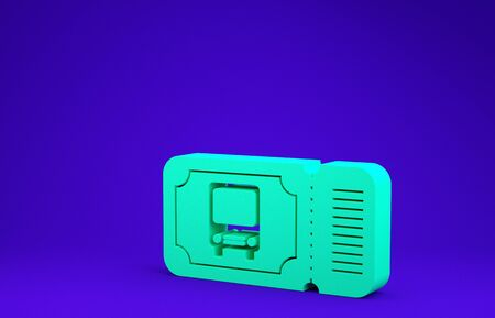 Green Bus ticket icon isolated on blue background. Public transport ticket. Minimalism concept. 3d illustration 3D render