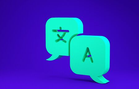 Green Translator icon isolated on blue background. Foreign language conversation icons in chat speech bubble. Translating concept. Minimalism concept. 3d illustration 3D render