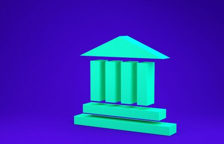 Green Museum building icon isolated on blue background. Minimalism concept. 3d illustration 3D render