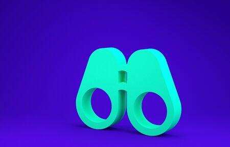 Green Binoculars icon isolated on blue background. Find software sign. Spy equipment symbol. Minimalism concept. 3d illustration 3D render