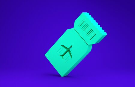 Green Airline ticket icon isolated on blue background. Plane ticket. Minimalism concept. 3d illustration 3D render