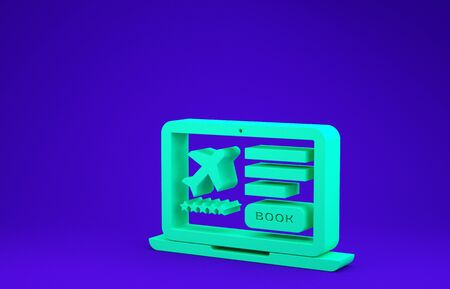 Green Laptop with electronic boarding pass airline ticket icon isolated on blue background. Passenger plane mobile ticket for web and app. Minimalism concept. 3d illustration 3D render