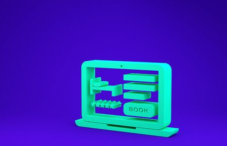 Green Online hotel booking icon isolated on blue background. Online booking design concept for laptop. Minimalism concept. 3d illustration 3D render 版權商用圖片