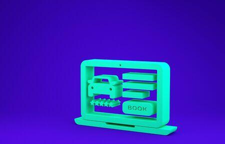 Green Online car sharing icon isolated on blue background. Online rental car service. Online booking design concept for laptop. Minimalism concept. 3d illustration 3D render 版權商用圖片