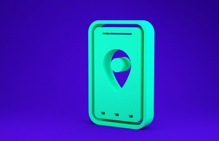 Green Infographic of city map navigation icon isolated on blue background. Mobile App Interface concept design. Geolacation concept. Minimalism concept. 3d illustration 3D render