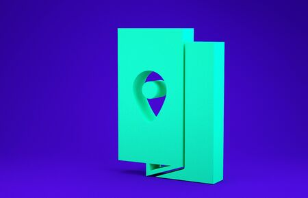 Green Cover book travel guide icon isolated on blue background. Minimalism concept. 3d illustration 3D render