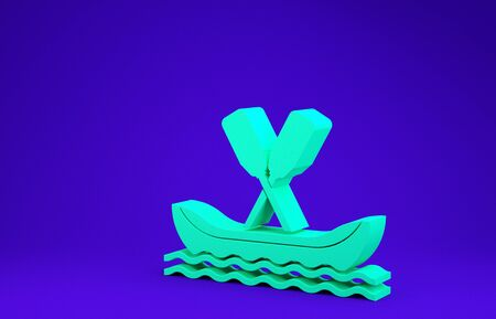 Green Rafting boat icon isolated on blue background. Kayak with paddles. Water sports, extreme sports, holiday, vacation, team building. Minimalism concept. 3d illustration 3D render Stockfoto