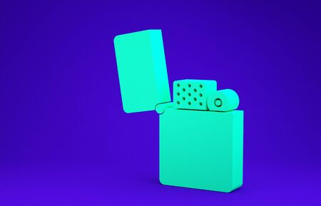 Green Lighter icon isolated on blue background. Minimalism concept. 3d illustration 3D render Foto de archivo - 134736461