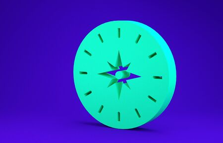 Green Compass icon isolated on blue background. Windrose navigation symbol. Wind rose sign. Minimalism concept. 3d illustration 3D render