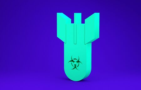 Green Biohazard bomb icon isolated on blue background. Rocket bomb flies down. Minimalism concept. 3d illustration 3D render