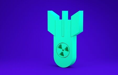 Green Nuclear bomb icon isolated on blue background. Rocket bomb flies down. Minimalism concept. 3d illustration 3D render 스톡 콘텐츠