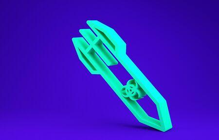 Green Biohazard rocket icon isolated on blue background. Rocket bomb flies down. Minimalism concept. 3d illustration 3D render