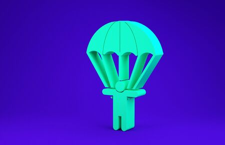Green Parachute and silhouette person icon isolated on blue background. Minimalism concept. 3d illustration 3D render