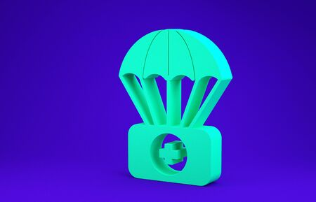 Green Parachute with first aid kit icon isolated on blue background. Medical insurance. Minimalism concept. 3d illustration 3D render