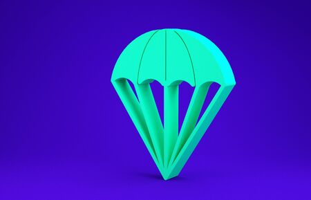 Green Parachute icon isolated on blue background. Minimalism concept. 3d illustration 3D render