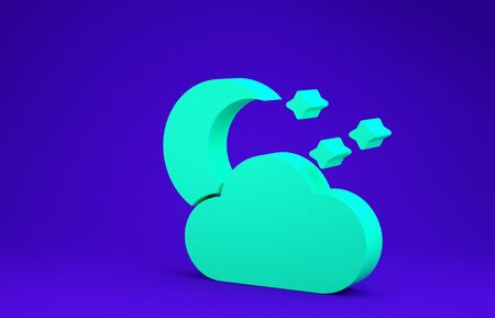 Green Cloud with moon and stars icon isolated on blue background. Cloudy night sign. Sleep dreams symbol. Night or bed time sign. Minimalism concept. 3d illustration 3D render