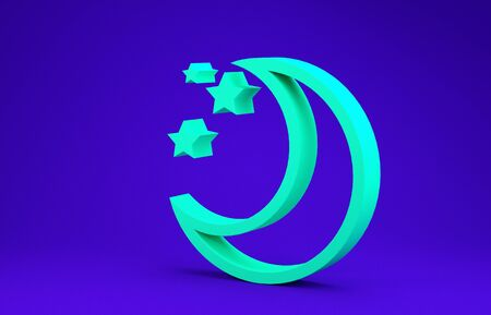 Green Moon and stars icon isolated on blue background. Minimalism concept. 3d illustration 3D render 版權商用圖片