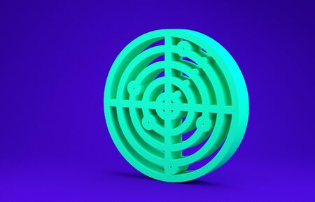 Green Radar with targets on monitor in searching icon isolated on blue background. Military search system. Navy sonar. Minimalism concept. 3d illustration 3D render 스톡 콘텐츠