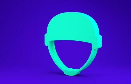 Green Military helmet icon isolated on blue background. Army hat symbol of defense and protect. Protective hat. Minimalism concept. 3d illustration 3D render