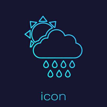 Turquoise line Cloud with rain and sun icon isolated on blue background. Rain cloud precipitation with rain drops. Vector Illustration