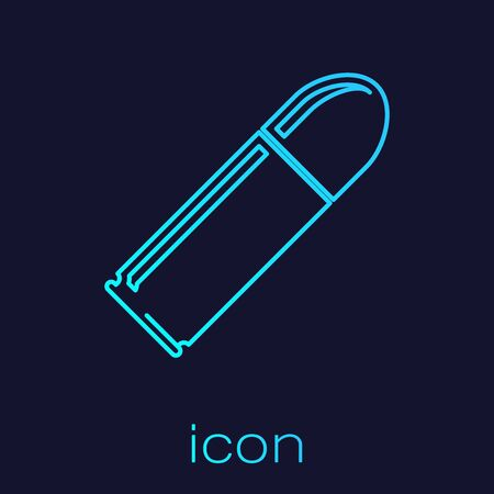 Turquoise line Bullet icon isolated on blue background. Vector Illustration